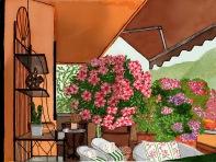 Rododendri fioriti in terrazza