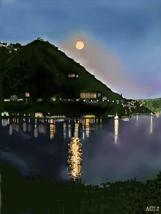 Luna piena sul primo bacino del lago,di Como