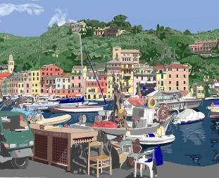 Il porto di Portofino visto dal nolo dei pescatori
